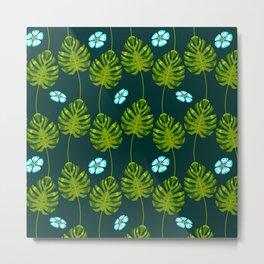 Island Palm Leaves & Blue Tropical Flowers Pattern Metal Print