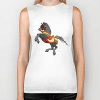 pony Biker Tanks featuring Grey Pony by Moonlake Designs