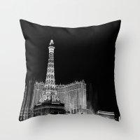 las vegas Throw Pillows featuring Las Vegas by Sara Ess