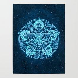 Celtic Crescent Moon Pentacle Pentagram Poster