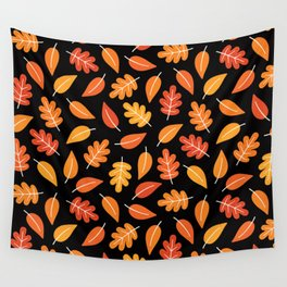 RETRO AUTUMN LEAVES ON BLACK Wall Tapestry