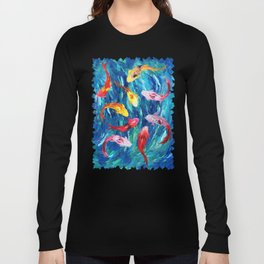 Koi fish rainbow abstract paintings Long Sleeve T-shirt