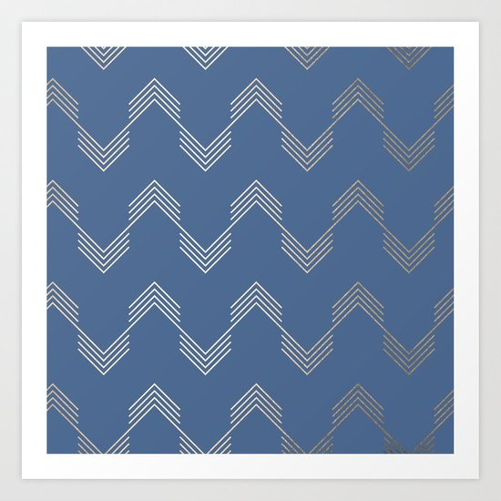 Simply Deconstructed Chevron White Gold Sands  on Aegean Blue Art Print