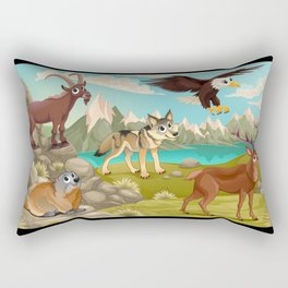 Funny animals in a mountain landscape Rectangular Pillow
