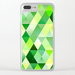 Lime Green Yellow White Diamond Triangles Mosaic Pattern Clear iPhone Case
