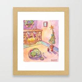 Gator Christmas Framed Art Print