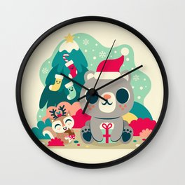 Holiday Woodland Bear / Cute Animal Wall Clock
