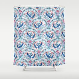 Art Deco Fresco in Cool Mediterranean Blue and Red Shower Curtain