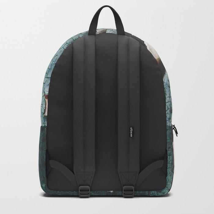 Rustic old light blue green peeling paint Backpack