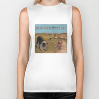 border collie Biker Tanks featuring Border Collie by Jeff Crosby
