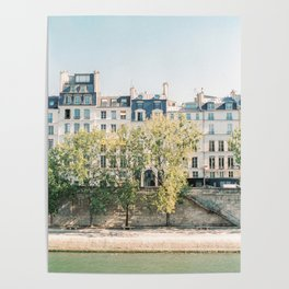 River Seine in Paris, France | lle Saint-Louis, Paris | Parisian Buildings | Travel Photography Poster