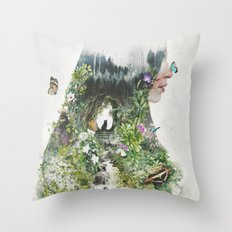 Cat in the Garden of Your Mind Throw Pillow