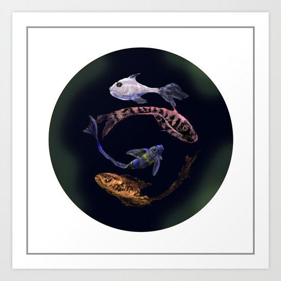 YIN AND YANG- BLACK Art Print