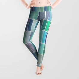 Watercolor Green Swatches Leggings