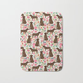 Labrador Retriever florals chocolate lab cute pet gifts must have labrador florals Bath Mat