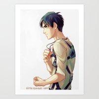 viria Art Prints featuring eren jaeger by viria