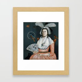 Rufus Hathaway Lady with Her Pets (Molly Wales Fobes) Framed Art Print