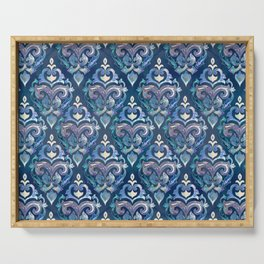 Persian Floral pattern blue and silver Serving Tray