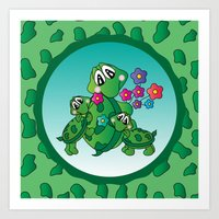Momma Turtle and her Kids Art Print