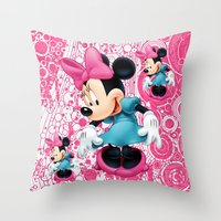 minnie mouse Throw Pillows featuring Minnie Mouse Cartoon by Maxvision