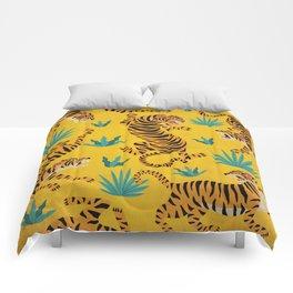 Wild Tigers on Sunshine Yellow - Kitschy Jungle Nature Pattern Comforters