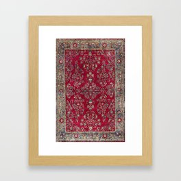 Kashan Central Persian Silk Rug Print Framed Art Print