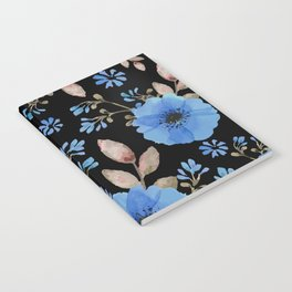 Blue flowers with black Notebook