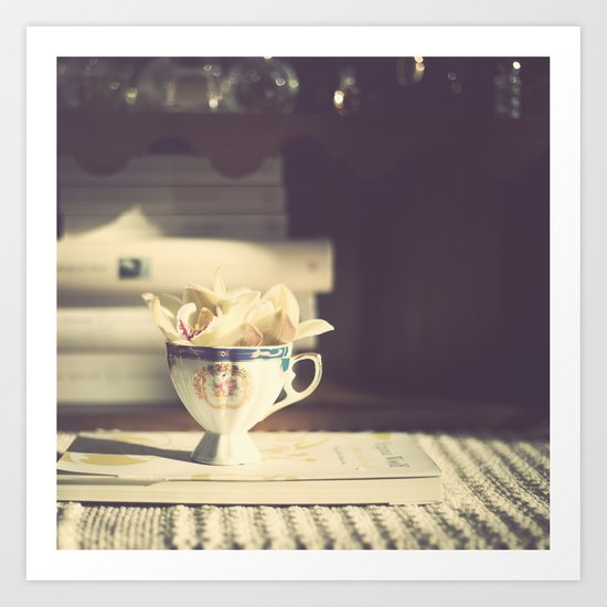Vintage Orchid in a Chinese Cup and a Book  Art Print