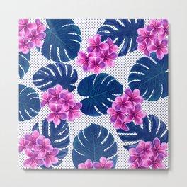 Tropical Flowers & Monstera Metal Print