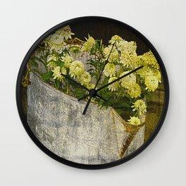 White Coneflowers Wall Clock
