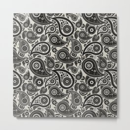Wolf Gray Paisley Pattern Metal Print