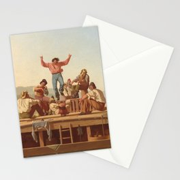 The Jolly Flatboatmen by George Caleb Bingham Stationery Cards