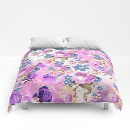 ROSES GIRLY PINK PURPLE AND BLUE FLOWER PATTERN Comforters