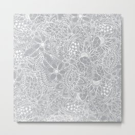 Modern trendy white floral lace hand drawn pattern on harbor mist grey Metal Print