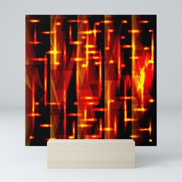 Luxurious red stripes and metallic orange triangles of fire create abstraction and glow. Mini Art Print