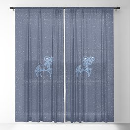 Aries Constellation and Zodiac Sign with Stars Sheer Curtain