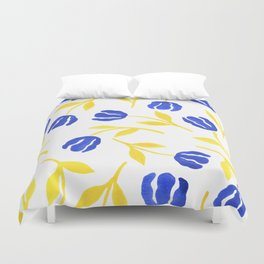 Blue and Yellow Floral Duvet Cover