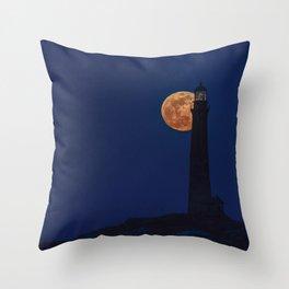 Full blue moon behind Thacher island lighthouse Throw Pillow