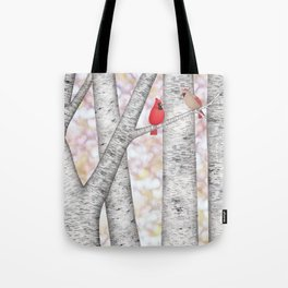 cardinals and birch trees Tote Bag