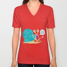 Cute Snail Unisex V-Neck