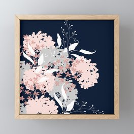 Festive, Wildflowers, Floral Print, Navy Blue and Pink Framed Mini Art Print