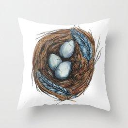 Blue Bird Nest Throw Pillow