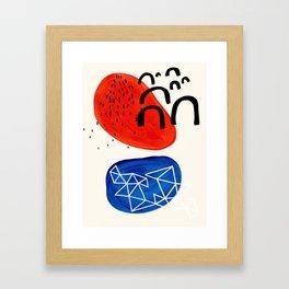Mid Century Modern abstract Minimalist Fun Colorful Shapes Patterns Orange Blue Bubbles Organic Framed Art Print