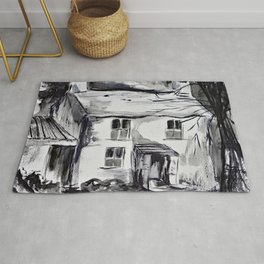 Welsh farm house, pen and ink wash, Wales Rug