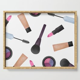Scattered Makeup Pattern Serving Tray