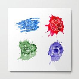 Watercolor bright hand-drawn gems set Metal Print
