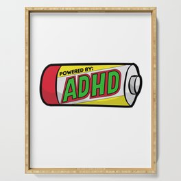 POWERED BY ADHD impulsivitiy hyperfocus impulse Serving Tray