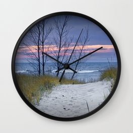 Sunset Photograph of Trees and Dune with Beach Grass at Holland Michigan Wall Clock