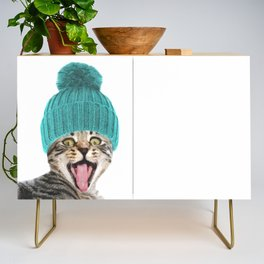Cat with hat illustration Credenza