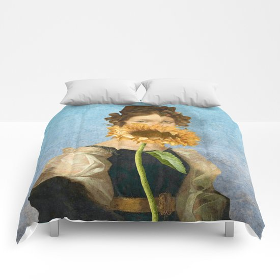 Girl with Sunflower 1 Comforters